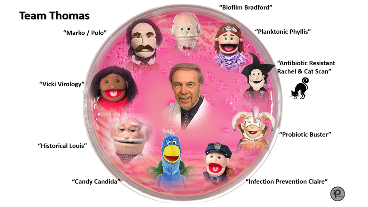 a petry dish showing head shot of professor thomas, and three of his puppets.